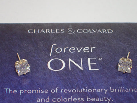 Forever One  D E F Moissanite Earrings 2 ct twt Princess Cut 14KY Charles Colvard
