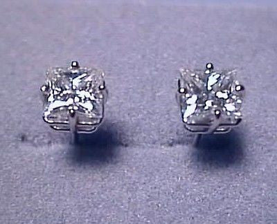 Forever One D E F  Moissanite Earrings 2 ct twt Princess Cut 14KW Charles Colvard