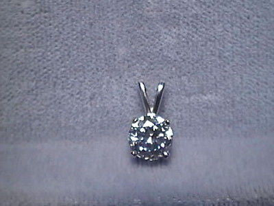 CZ Signity Cubic Zirconia Pendant 3/4 ct  Rnd 14K Gold
