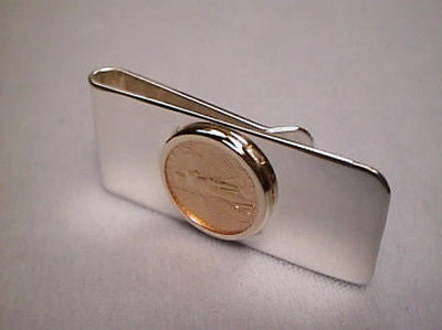 Money Clip 22K Gold US 1/10th oz Eagle Coin Sterling Silver Plain Clip 14K Bezel