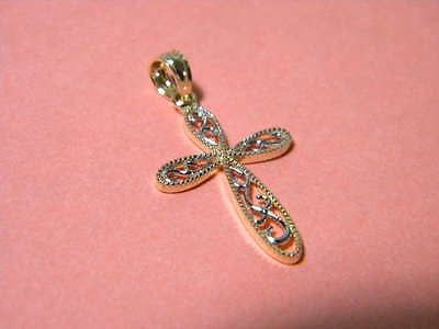 Cross Fliigree & Millgrain 14K Yellow & White Gold 7/8ths inch by 1/2 inch
