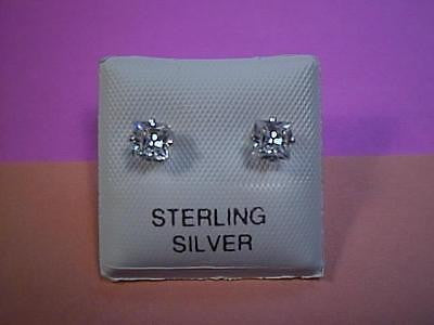 Cubic Zirconia CZ Earrings Princess Cut 1/2 carat each 4mm Sterling Silver Studs