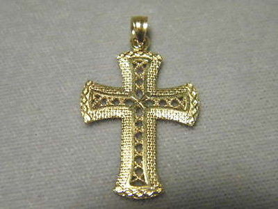 Cross Woven Design  1+ inches tall 14K Yellow Gold