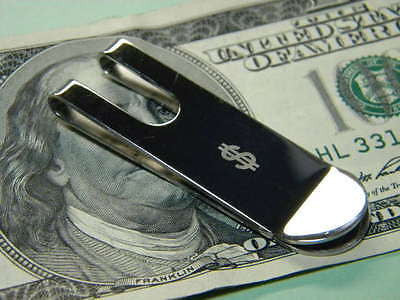 "MONEY CLIP Plain style Stainless Steel Clip with ""$"" Dollar Sign Engraved"
