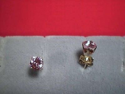 Pink Cubic Zircoina SIGNITY Earrings Studs 5mm Round 14K Gold, CZs