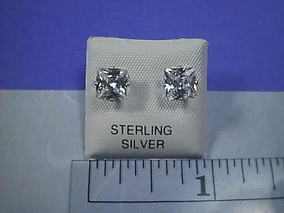 Cubic Zirconia Princess Cut 2 carat twt Earring Studs Sterling Silver