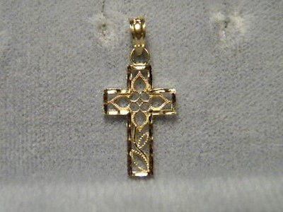 Cross 14K Yellow Gold Flower design 3/4ths inch tall