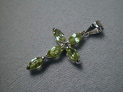 14K White Gold Peridot Cross with 5 Marquise Gems 1.09 carat twt