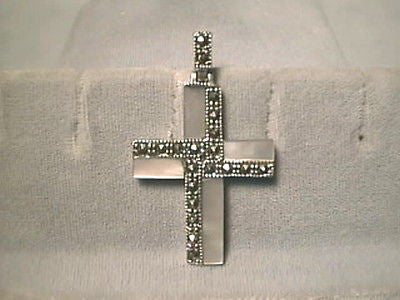 CROSS White Mother Pearl with Marcasite .925% Sterling Silver 1.5 inch
