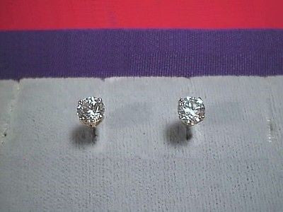 CZs Signity Earrings 5mm 1/2 carat each 14K Y Gold Stud Cubic Zirconia