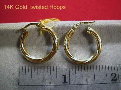 Twisted Hoops 14K Yellow Gold Earrings 3/4ths inch