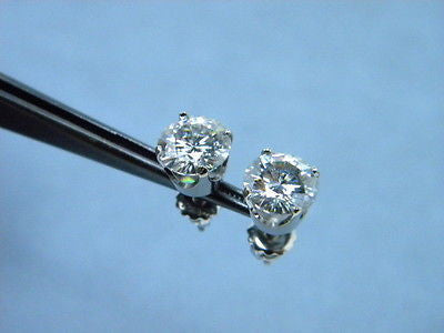 Moissanite Earrings 4 carat twt 14K Gold Studs 8mm Round Charles & Colvard