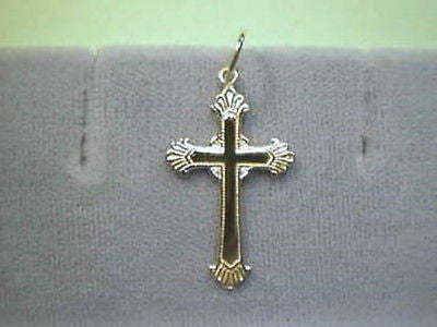 Cross 14K Yellow Gold 1 inch  Fancy very nice single bail
