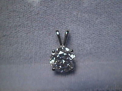 CZ Signity Cubic Zirconia Pendant 1ct  Rnd 14K Gold