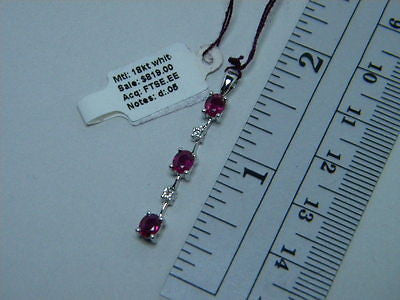 Rubies & Diamonds dangle Pendant 18K White Gold - Ruby