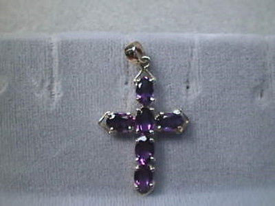 Amethyst Cross 14K Yellow  6 Nice Gems 3 + carats total 6x4mm Ovals