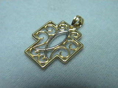 Cross 14K Yellow Gold scroll design with 14K White Gold fish <><