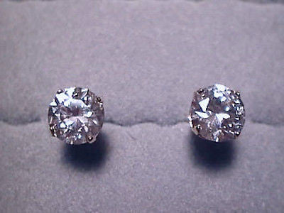 CZs Earrings SIGNITY 8mm round 2 carat each 14K Yellow Gold Studs Cubic Zirconia