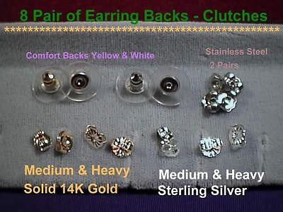 "Earring Push Backs Clutches Ear Nuts ""8pair"" 14k Gold,Sterling Silver,Stainless"