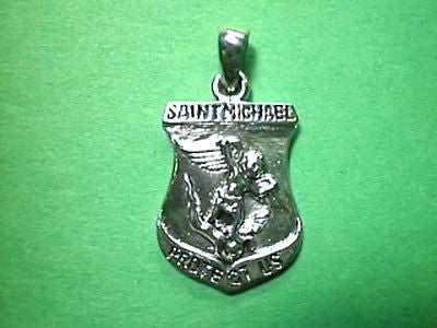 Saint Michael 1 inch SHIELD BADGE shape Sterling Silver