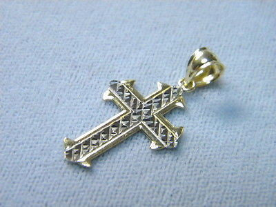 Cross 14K Yellow & White Gold Center Woven 7/8ths inch tall by 5/8ths