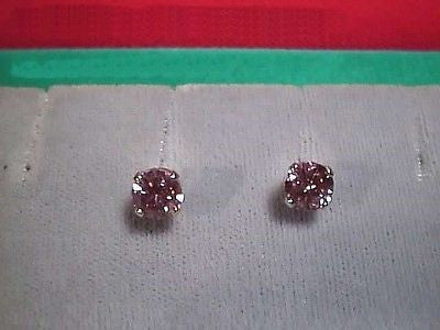 SIGNITY CZs Pink Earring Studs 6mm Round 14K Gold  Cubic Zirconia