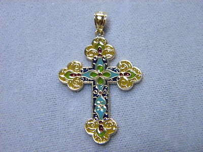 Cross Orthodox Cloisonne Enamel 14K Gold Stained Glass Color look 1 3/8th tall
