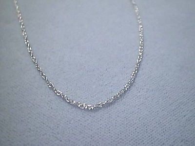 14K White solid Gold pendant link Chain 20 inches long petite fine