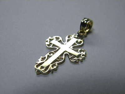 Cross 14K Yellow Gold with Lace trim on edges 3/4ths inch tall by1/2 inch wide