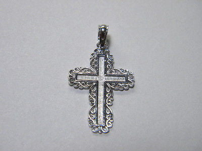 Cross 14K White Gold with Lace trimed  Border 7/8th inch tall 5/8th wide