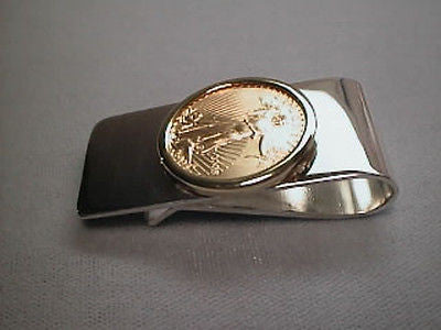 Money Clip 22K Gold USA 1/4th Ounce Eagle Coin Sterling Silver Clip & 14K Bezel