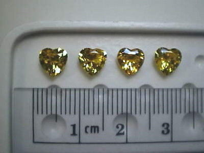 Yellow Cubic Zircona Hearts 6x6mm 4 piece Lot CZs