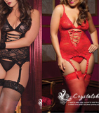 """Hubby's Choice"" Sexy Lace Teddy, G-string, Garters Lingerie Set M-XXXL"