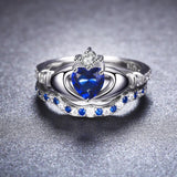 Solid Sterling Silver 925 With Sapphire Two Piece Ring Set