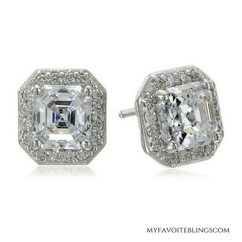 My Favorite Blings New Princess Halo 925 Stud Earrings