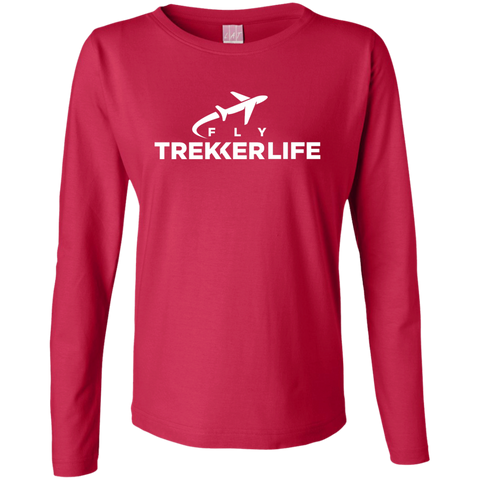 Trekker Life Fly Ladies Long Sleeve T-Shirt - Wht