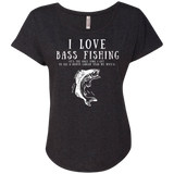 """I Love Bass Fishing"" Ladies' Dolman Sleeve Cotton Tee"