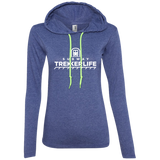 Trekker Life Subway Ladies Long Sleeve Tee with Hood - Wht