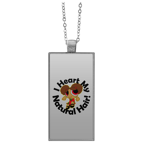 """I Heart My Natural Hair"" Rectangle Necklace"
