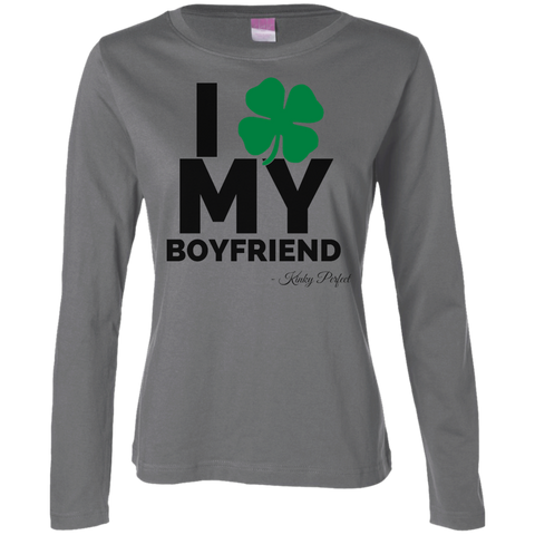 """I Love My Boyfriend"" Ladies' Long Sleeve Cotton Tee"