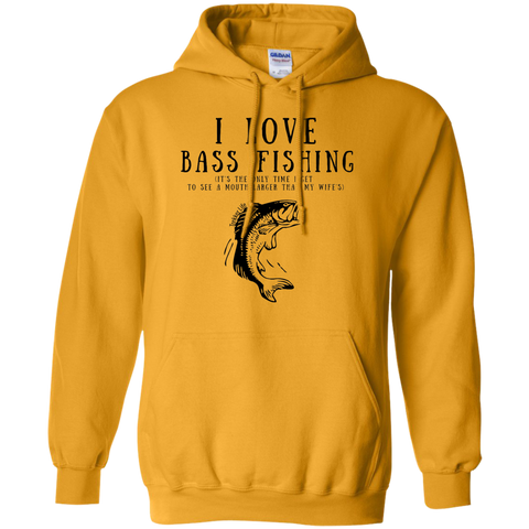 """I Love Bass Fishing"" Cotton Hoodie"