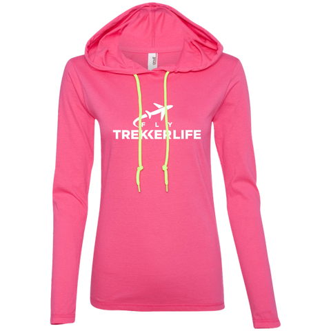 Trekker Life Fly Ladies Long Sleeve Tee with Hood - Wht