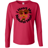 """I Heart My Natural Hair"" Ladies Long Sleeve Cotton T-Shirt 1"
