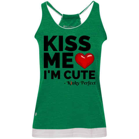 """Kiss Me I'm Cute"" Vintage Heathered Tank"