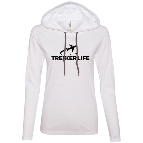 Trekker Life Fly Ladies Long Sleeve Tee with Hood - Blk