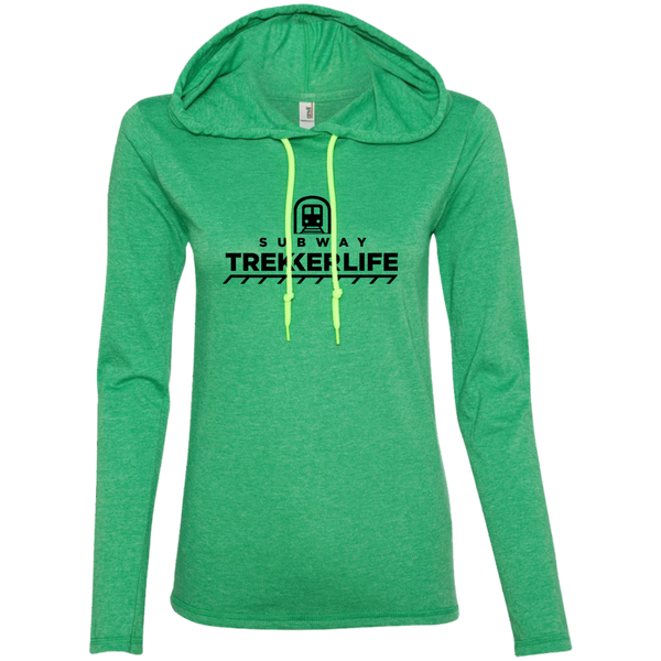 Trekker Life Subway Ladies Long Sleeve Tee with Hood - Blk