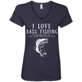 """I Love Bass Fishing"" Ladies' Cotton V-Neck Tee"