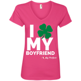 I Love My Boyfriend - Shamrock Ladies' V-Neck Tee