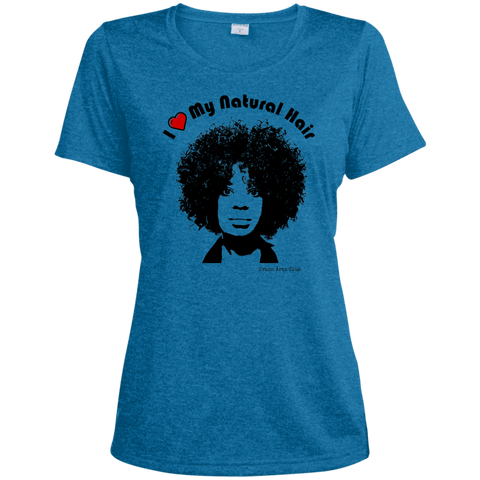 """I Heart My Natural Hair"" Ladies Heather Dri-Fit Moisture-Wicking Tee"