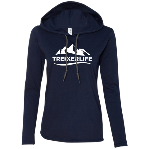 Trekker Life Classic Ladies Long Sleeve Tee with Hood - Wht